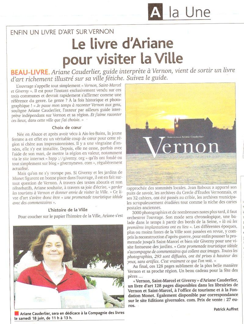 Article du démocrate vernonnais concernant le livre Vernon Saint Marcel et Giverny